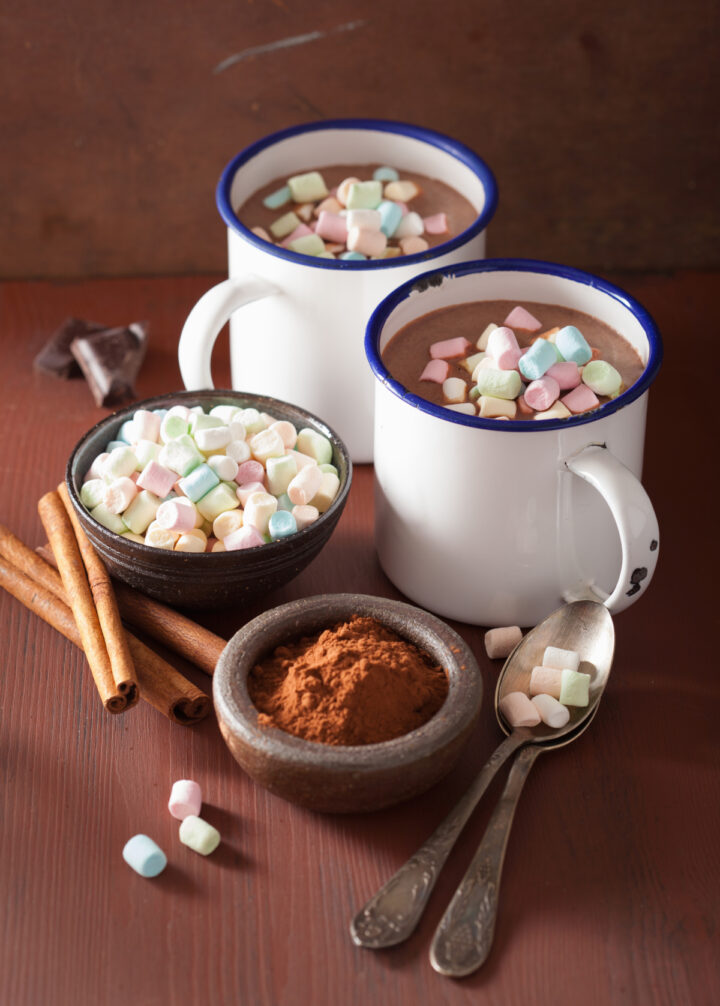 Hot chocolate with ingredients of hot cocoa, miniature marshmallows, cinnamon sticks on wooden surface