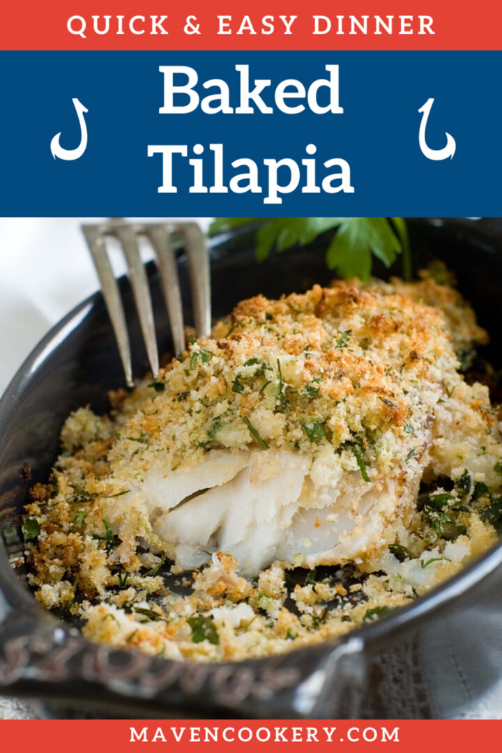 Baked Tilapia with crispy panko topping and flaky inside