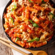 Easy Baked Ziti is super easy to make and loaded with creamy Bolognese sauce and cheese.