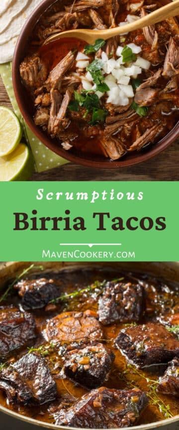 Savory beef Birria tacos recipe with homemade adobo sauce