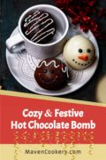 Decorated Hot Chocolate Bomb with 1 hot chocolate bomb in mug. 2 chocolate bombs with cute snowman faces.