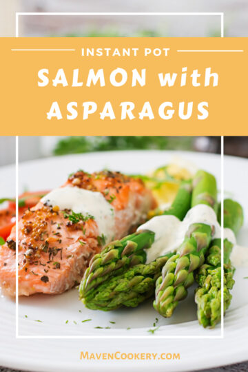 Instant Pot Salmon and asparagus for two, ready in under 15 minutes; plated and ready to serve. #instantpotsalmon #instantpotrecipes #instantpotmaincourse #salmon #healthyinstantpot #easydinner