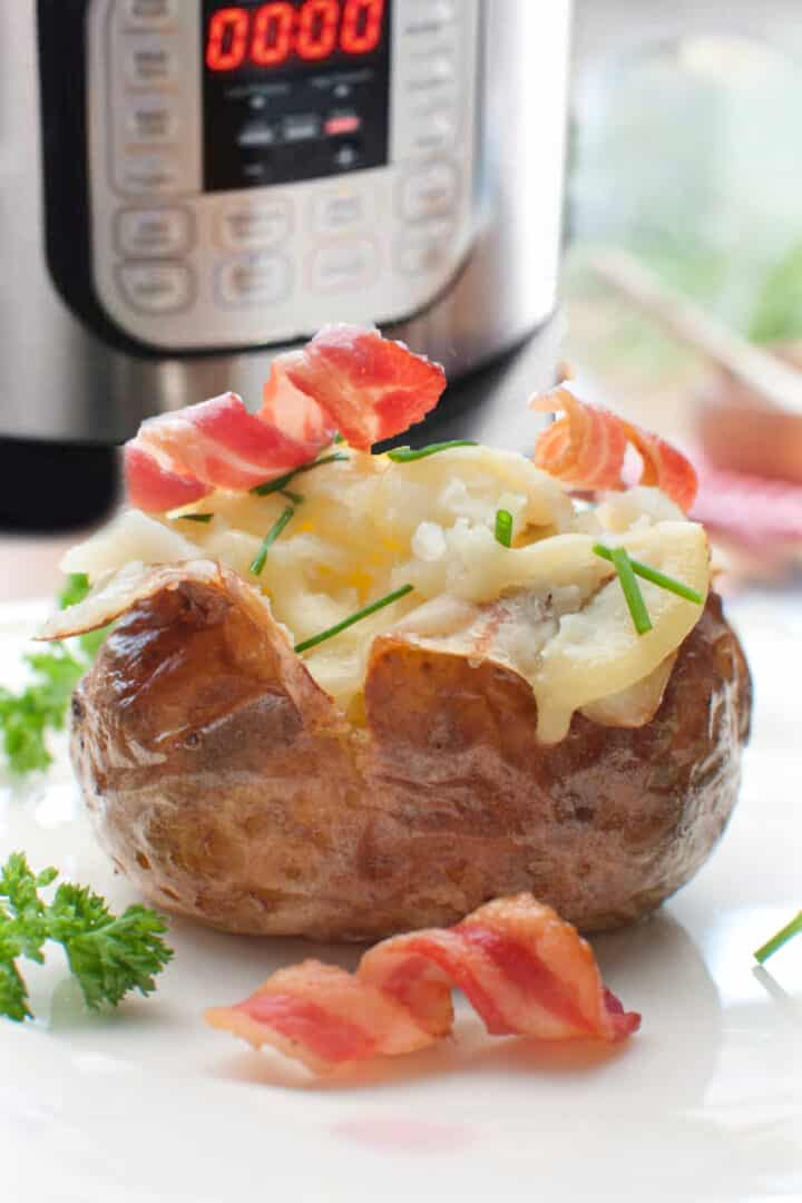 Instant Pot Baked Potato is ready in half the time of conventional baking and doesn't heat up your kitchen.