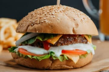 air fryer burger closeup