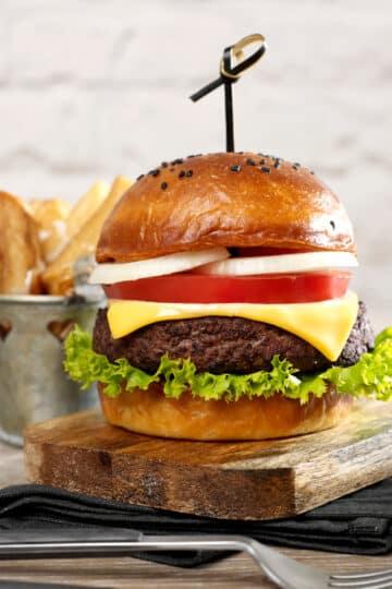 air fryer burger with air fryer fries