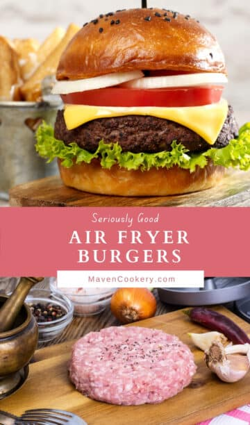 Pin graphic for air fryer burgers