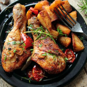 air fryer chicken legs with air fried potato wedges