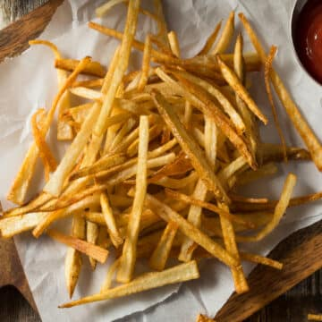 air fryer frozen french fries served with ketchup