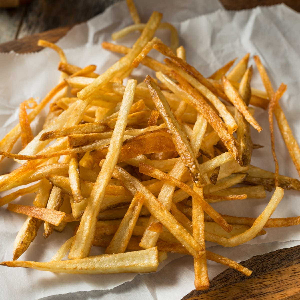 close up of crispy air fryer frozen french fries ready to eat