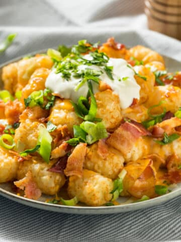A plate of tater tots topped with melted cheese, bacon, sliced green onions, and sour cream.