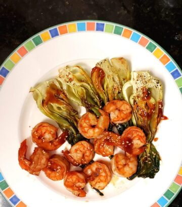 Baked Shrimp and Chinese cabbage with sambal and bbq sauce