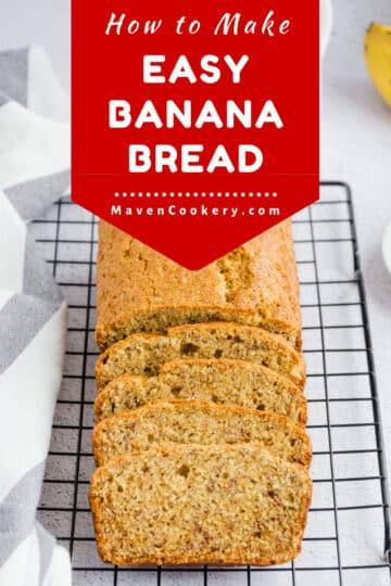 Easy banana bread cooling on a rack. Banana bread is sliced and ready to eat. #bananabread #bananas #bread #comfortfood #moistbananabread #easy