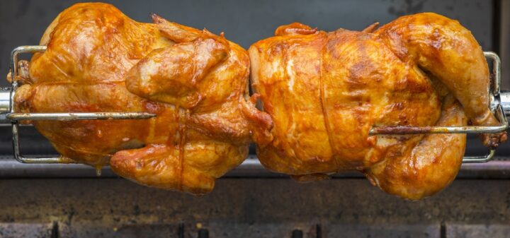 Two Rotisserie Chicken Cooking showing rich brown roasted skin