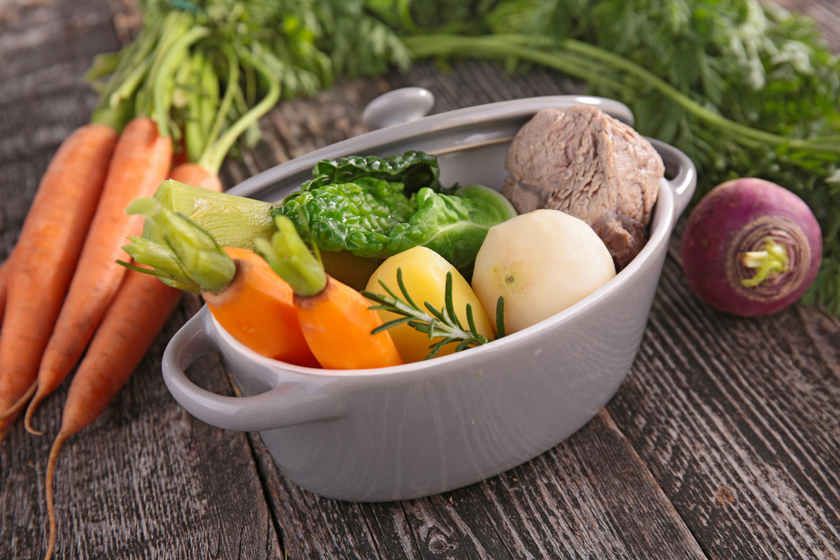 Fresh, raw vegetables ready to make beef stew