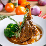 Braised Lamb Shanks Marinated in a Mediterranean Spice Mixture