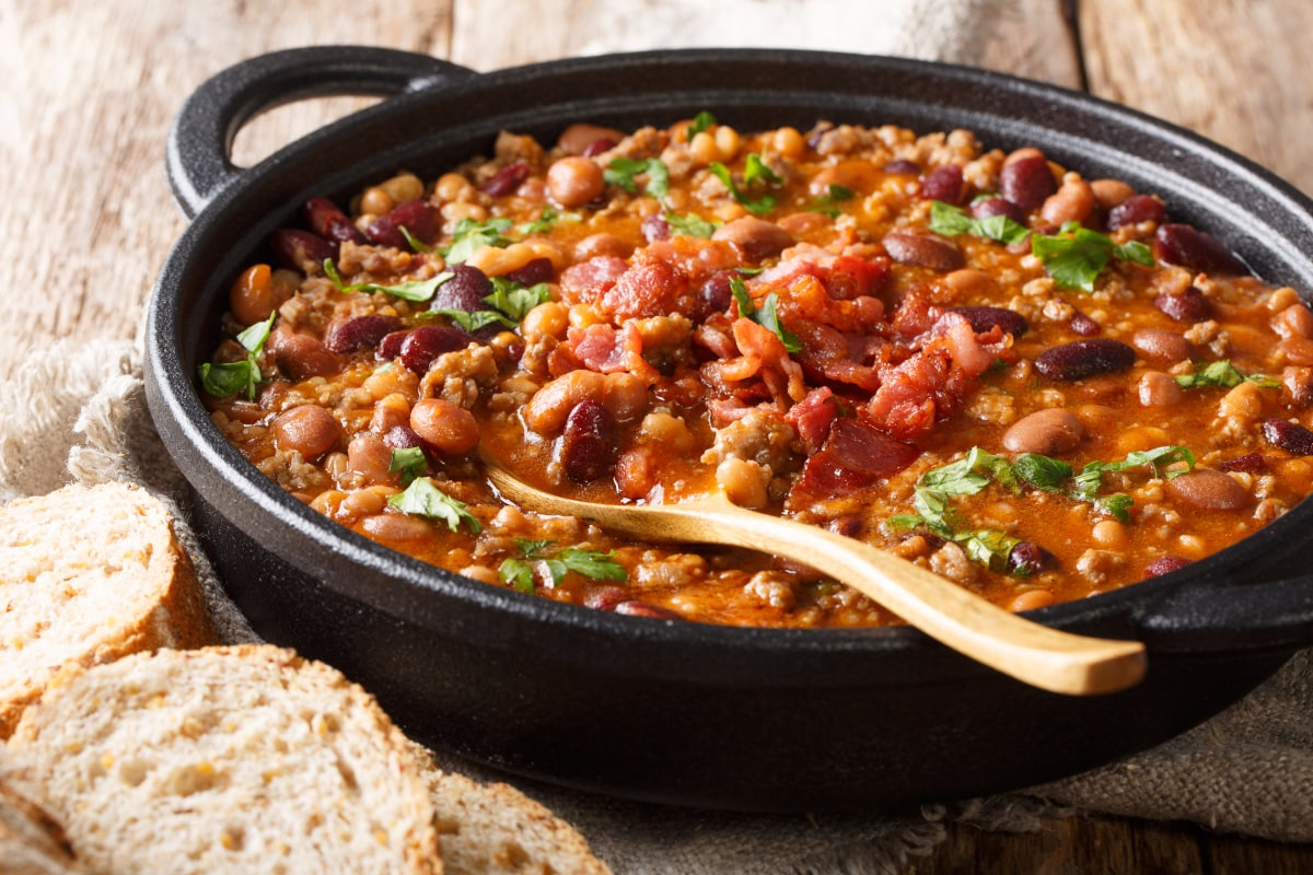 cast iron dutch oven with homemade charro beans