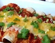 cheesy chicken burritos closeup