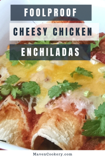Cheesy Chicken Enchiladas loaded with cheese, black beans and red pepper sauce. #cheesychickenenchiladas #chickenenchiladas #easyenchiladas #cheesychiladas #chickenenchiladasrecipe
