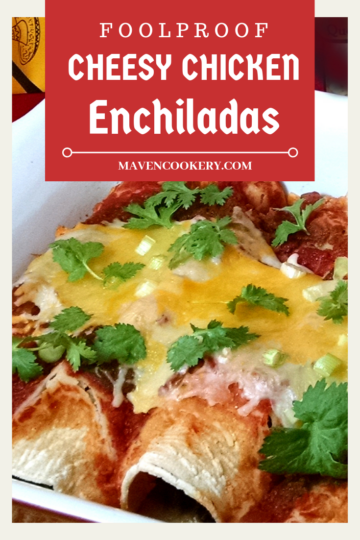 Cheesy Chicken Enchiladas loaded with cheese, black beans and red pepper sauce. #cheesychickenenchiladas #chickenenchiladas #easyenchiladas #cheesychiladas #chickenenchiladarecipe