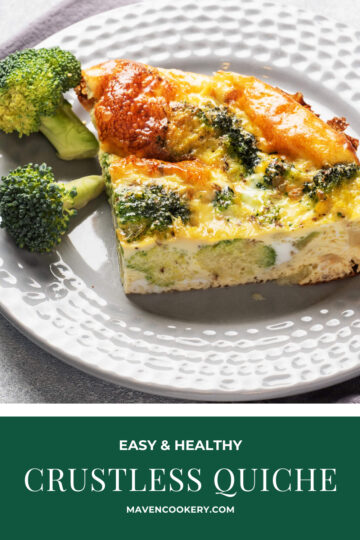 Crustless Quiche slice on plate with broccoli and bacon. #crustlessquiche #easycrustlessquiche #healthycrustlessquiche #broccoliquiche #crustlessbroccoliquiche #crustlessbroccolibaconquiche #easybreakfastquiche #easyeggbreakfast