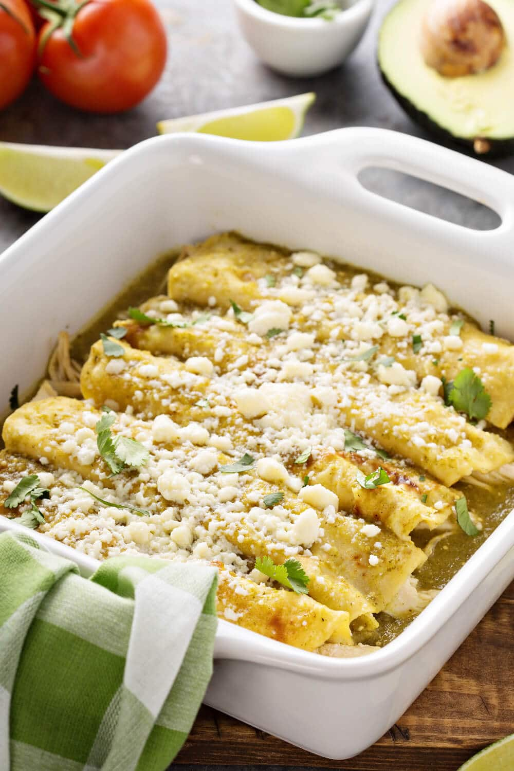 Enchiladas Verdes baked with Cotija sprinkled on top