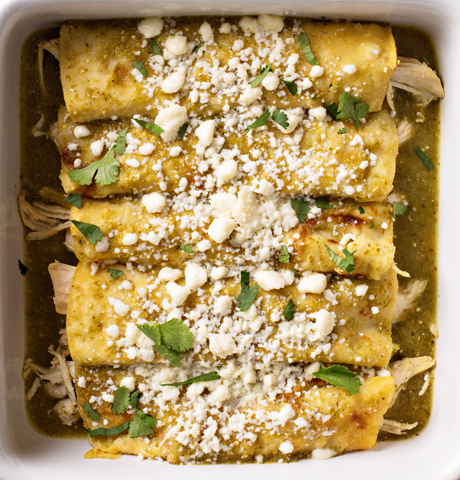 Closeup of Enchiladas Verdes (Green Enchiladas) in a pan. Top down view. Enchiladas are sprinkled with cotija cheese and cilantro.