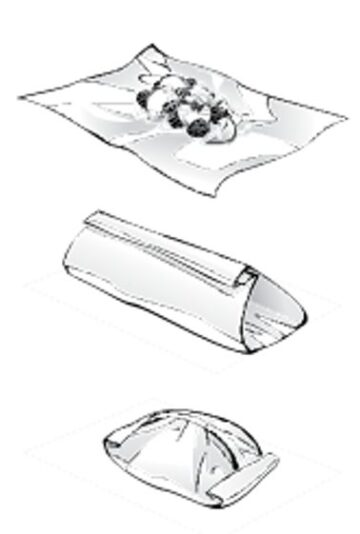 Foil packet making sketches showing how to make a tented foil packet in 3 easy steps.