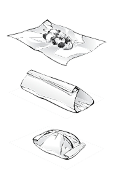 3 Steps showing how to make a tented parchment or foil packet for cooking en papillote.