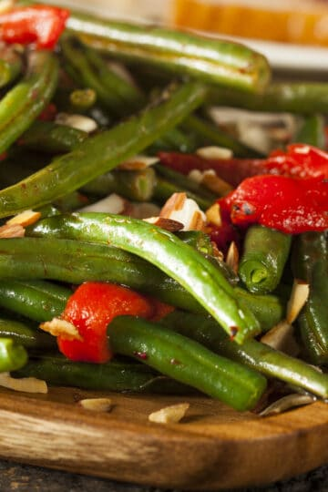 Instant Pot green beans with pimientos and optional almonds