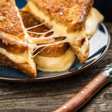 Grilled cheese with a crispy crust outside and melted tasty cheese inside.