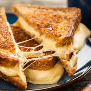 Grilled cheese with a crispy crust outside and melted tasty cheese inside. Ready to gobble up.