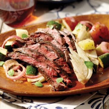 Grilled Skirt Steak with Grilled Vegetables is easily prepared in foil packets