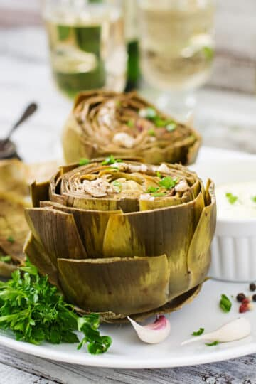 Instant Pot Artichokes trimmed and serve with dipping sauce