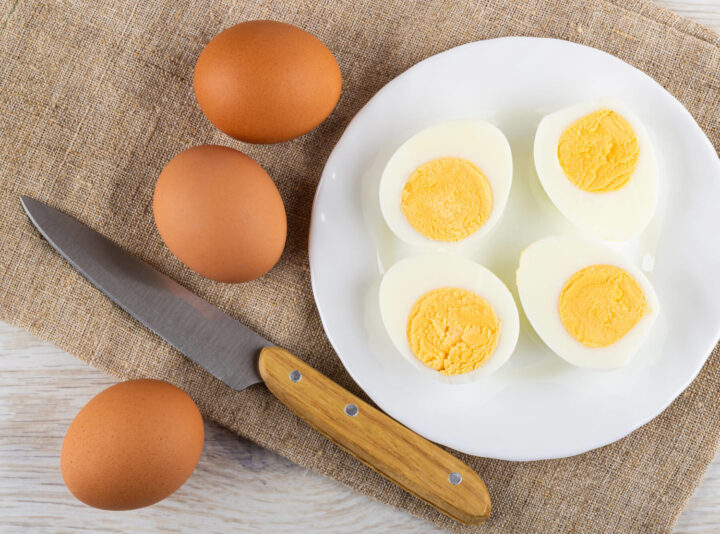 Hard Boiled Eggs Halved ready for eating, adding to salads, or making deviled eggs