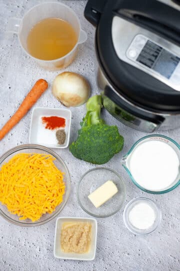 top down view of the ingredients for instant pot broccoli cheddar soup