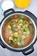 instant pot broccoli cheddar soup top down in pot