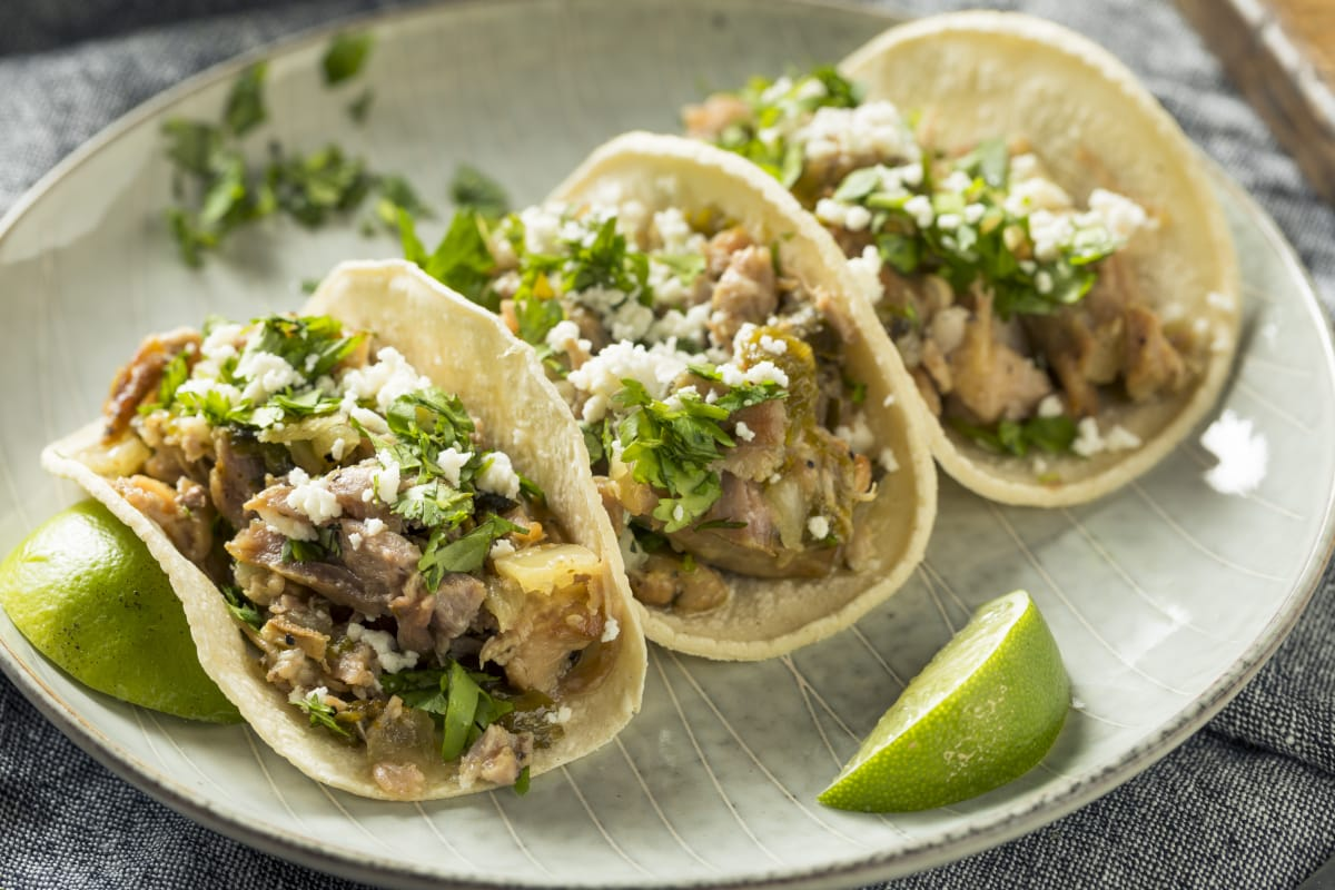 Instant Pot Carnitas sprinkle with cotija and cilantro