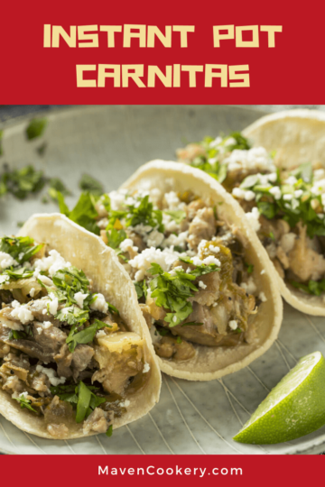 Instant Pot Carnitas garnished with fresh cilantro and cotija cheese ready to serve. #carnitas #instantpotpulledpork #instantpotmexican #instantpotpork #instantpotdinner #carnitasinstantpot #porkcarnitasinstantpot #easycarnitasinstantpot #mexicancarnitasinstantpot #crispycarnitasinstantpot