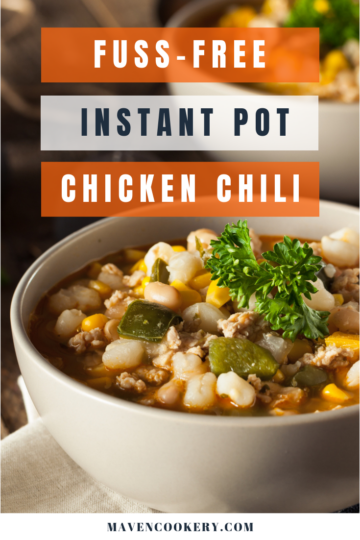 Instant Pot Chicken Chili with rotisserie chicken, white beans, chili pepper, and salsa verde ready to eat. #easyinstantpotchiliverde #instantpotchilidrybeans #instantpotchilirecipes #instantpotchilirecipessimple #instantpotchilichicken #instantpotchilichickenwhitebeans