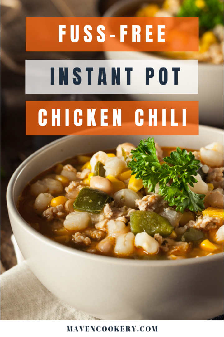 Instant Pot Chicken Chili with rotisserie chicken, white beans, chili pepper, and salsa verde ready to eat.