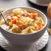 instant pot chicken noodle soup closeup