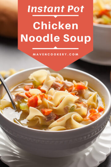 Instant Pot Chicken Noodle Soup is a quick and easy to make. It is a delicious bowl of comfort food. #chickennoodlesoup #instantpotrecipes #instantpotsoup #quickeasysoups #chickenrecipes #noodles #comfortfood