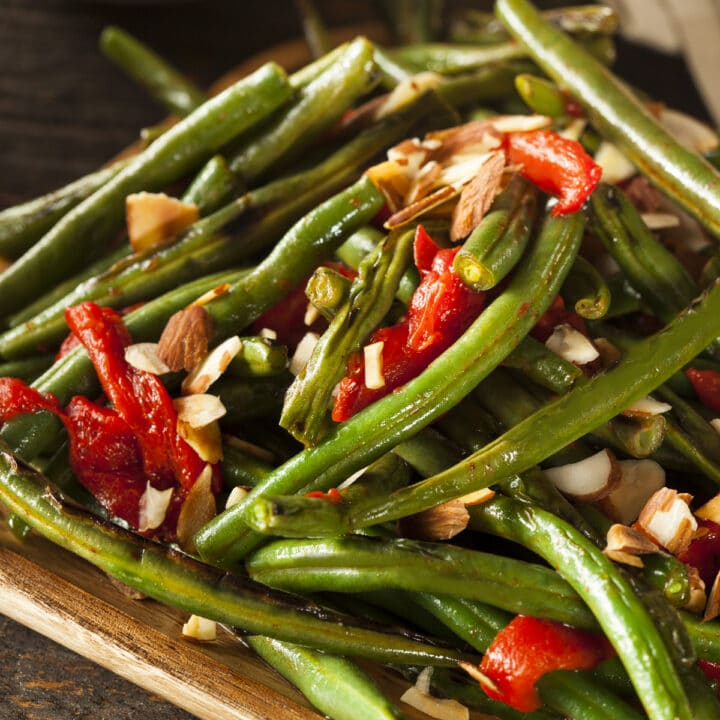 Instant Pot Green Beans with pimentos, and chopped almonds