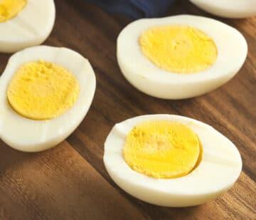 Instant Pot Boiled Eggs cut in half