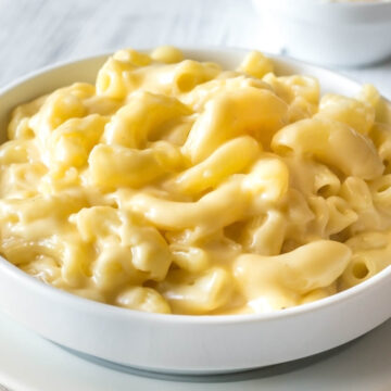 Instant Pot Mac and Cheese main course with shredded parmesan for spinkling