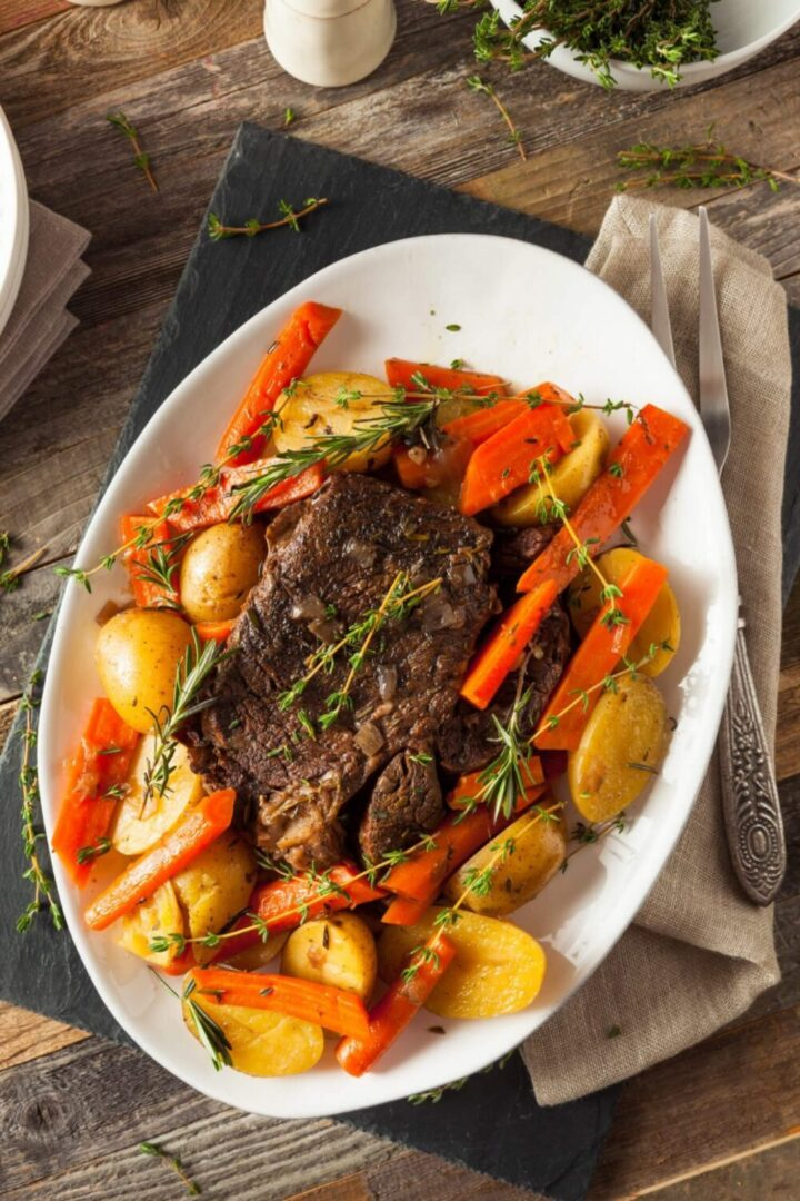 Instant Pot Pot Roast on a serving plate and ready to eat.