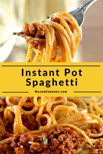 Instant Pot Spaghetti with meat, the best tomato sauce, and basil twirled on a fork. #instantpotrecipes #instantpoteaspoonaghetti #instantpotpasta #instantpottomatosauce #easyinstantpotrecipe