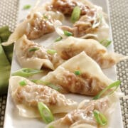 A plate of pork and shrimp wontons made in the Instant Pot. The wontons are made with pork and shrimp and garnished with green onions.
