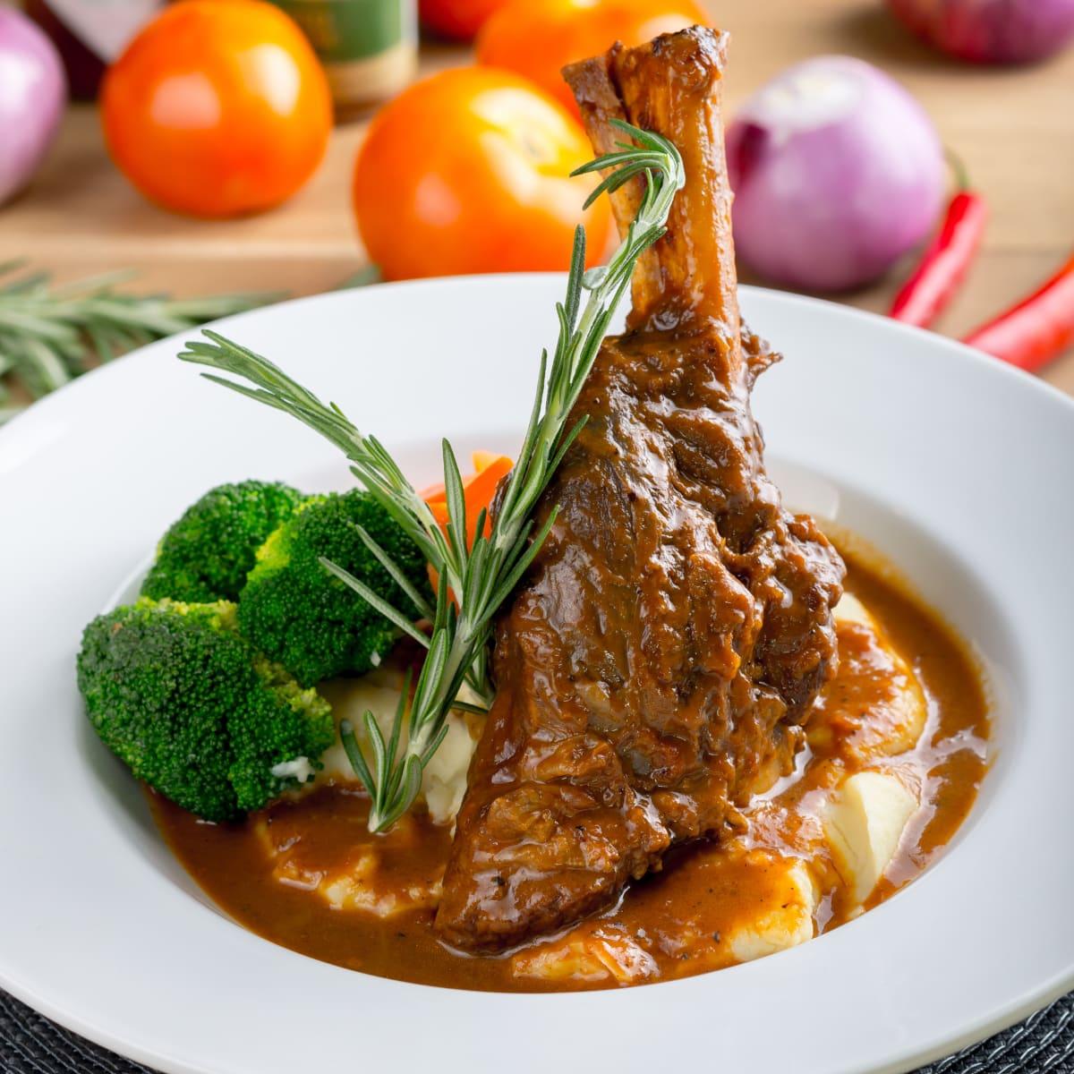 Braised Lamb Shanks Marinated in a Mediterranean Spice Mixture