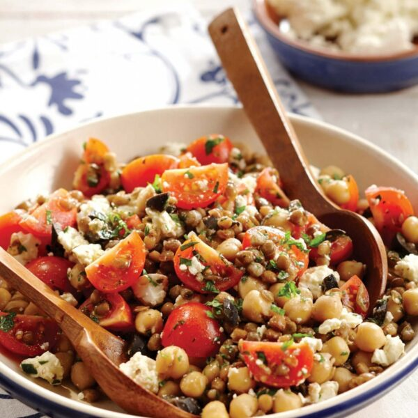 Mediterranean Chickpea Salad with Lentils and Tomatoes